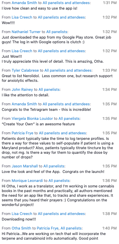 Screenshot of comments from Tetragram virtual launch
