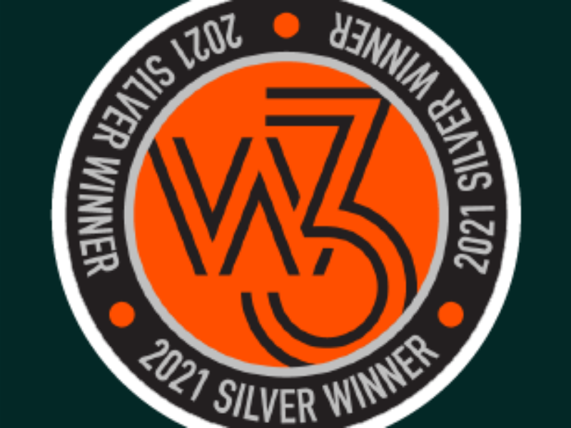 Image of text reads: w3 2021 Silver Winner